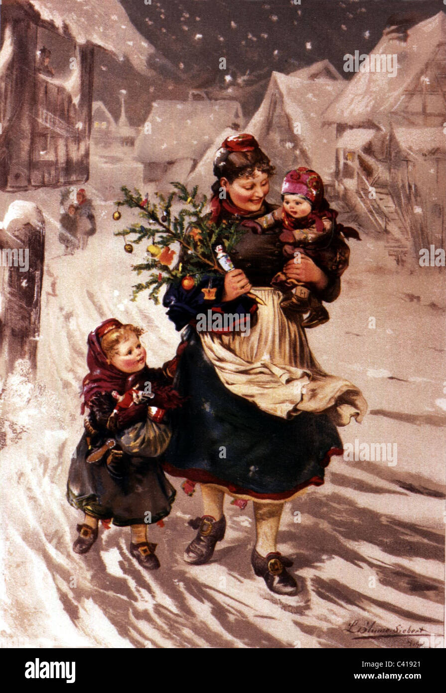 Christmas, 'After the gift giving', lithograph after painting by Ludwig Blume-Siebert (1853 - 1929), published - Stock Image