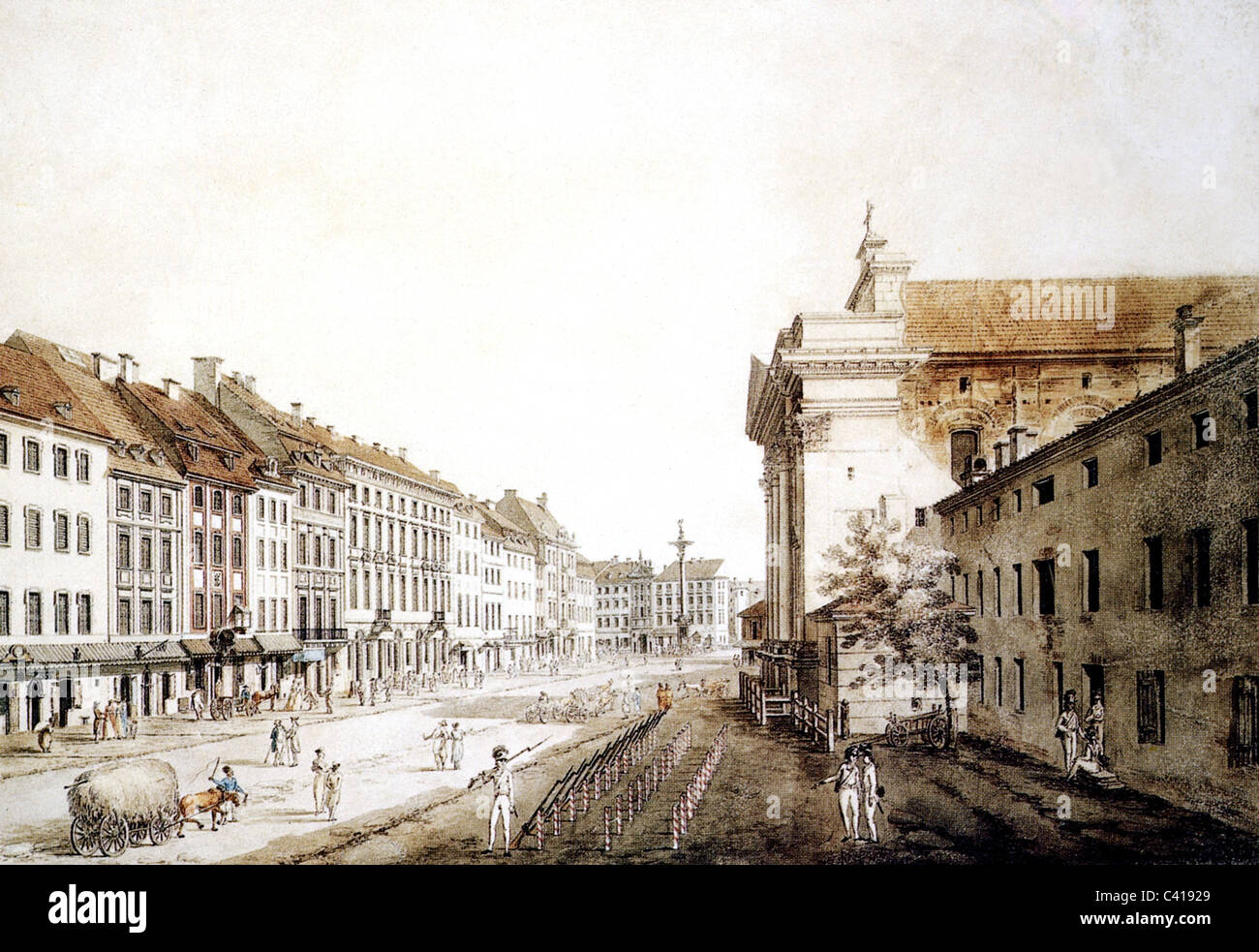 geography / travel, Poland, Warszawa, guard-house in the Krakow suburb, watercolour by Zygmunt Vogel, 1795, Additional - Stock Image