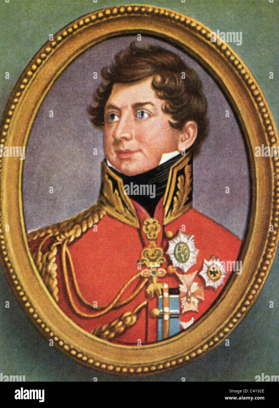 George IV, 12.8.1762 - 26.6.1830, King of Great Britain 29.1.1820 - 26.6.1830, portrait, colour print after miniature, - Stock Image