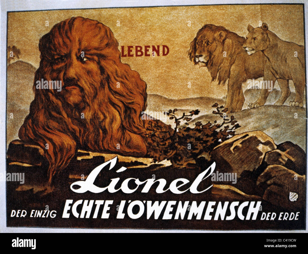 circus, curiosities, 'Lionel der Lion-Faced Man', poster, circa 1910, Additional-Rights-Clearences-NA - Stock Image