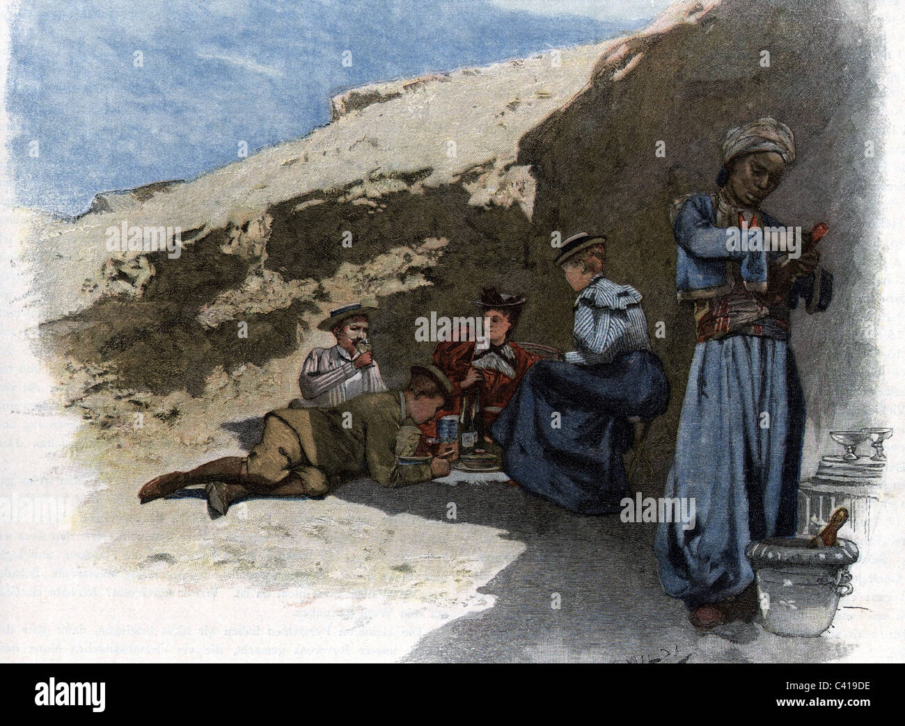 tourism, tour group during rest in rocky landscape, after watercolour by Charles Wilda, wood engraving, circa 1905, - Stock Image