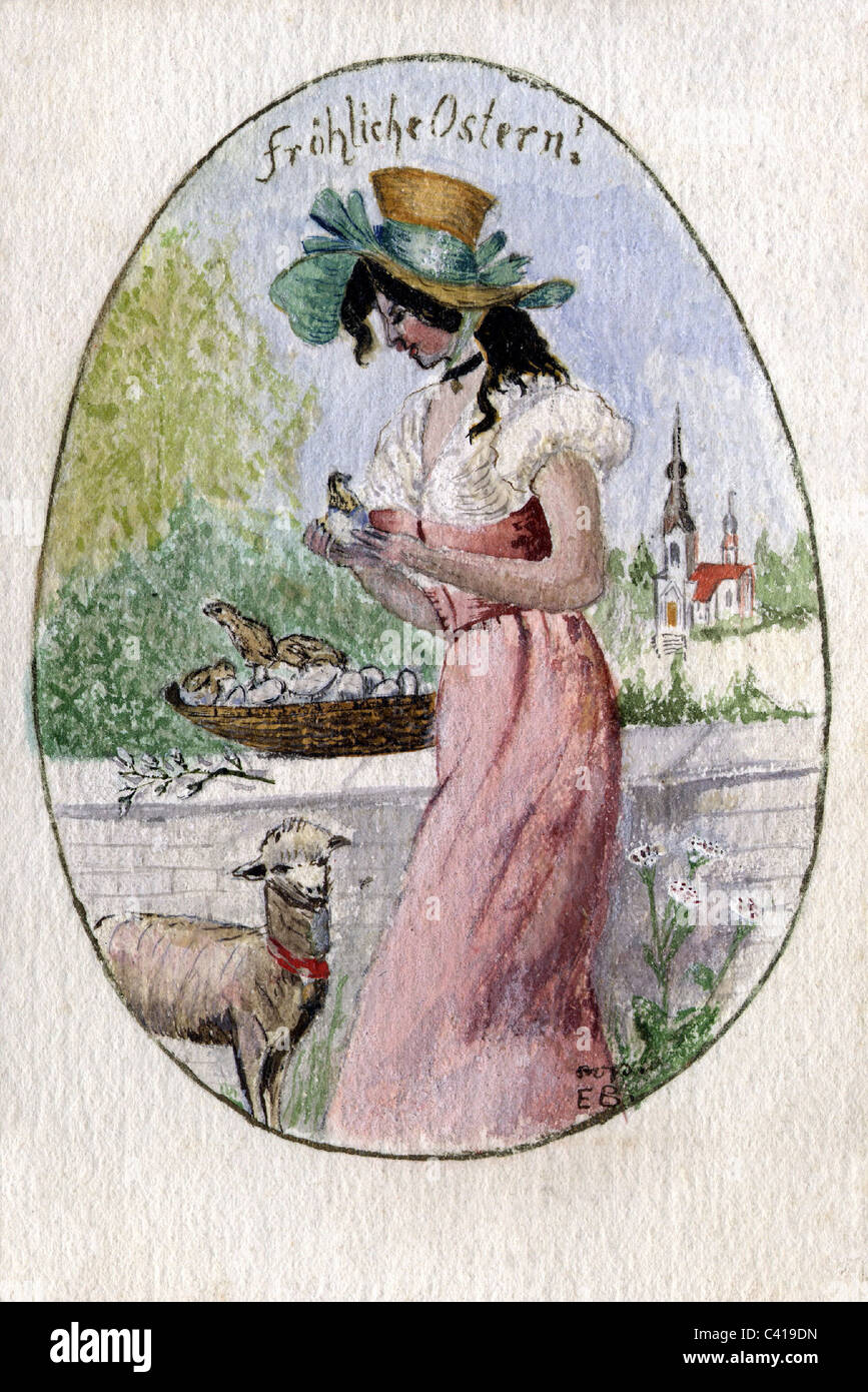 Easter Woman With Lamb And Chick Greetings Card Painting Circa 1900