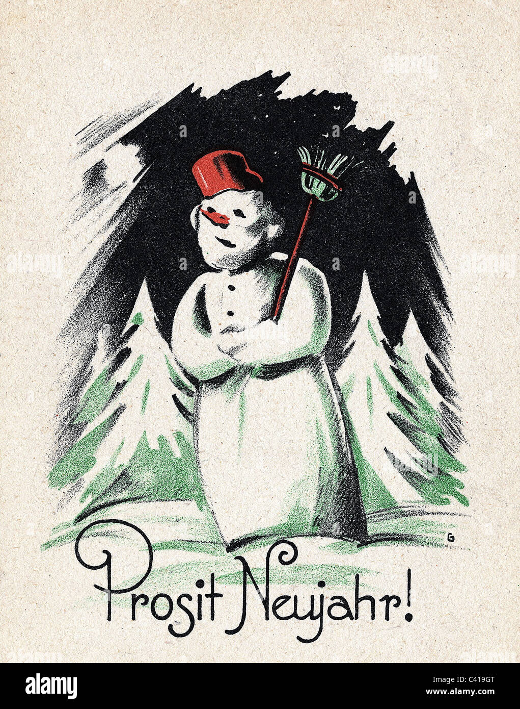 festivity, New Year, greetings card, 1947, Additional-Rights-Clearences-NA - Stock Image
