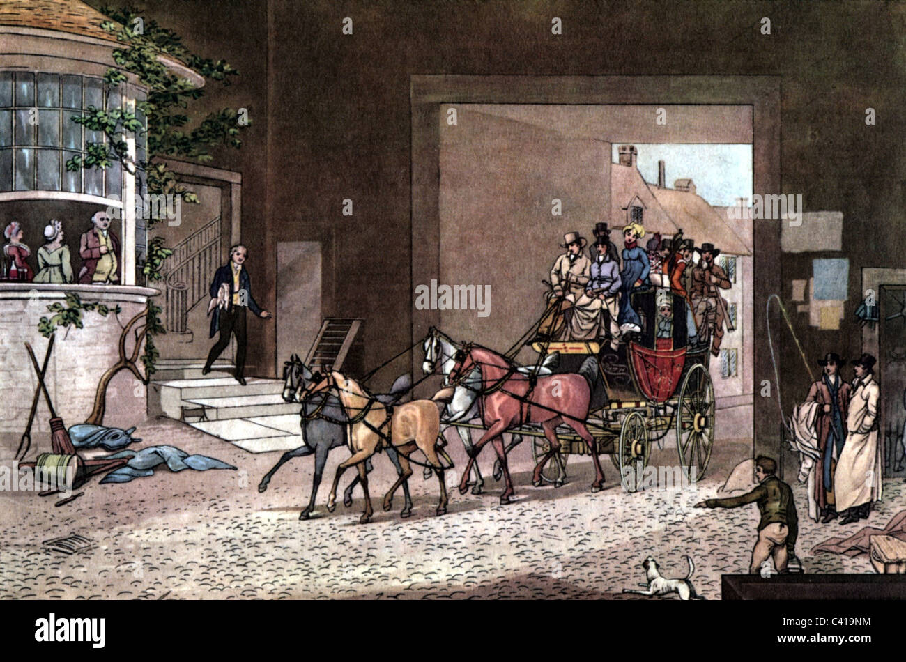 mail / post, mail coach, arrival of the coach at post station, England, coloured engraving by J.Pollard, 1816, Additional - Stock Image