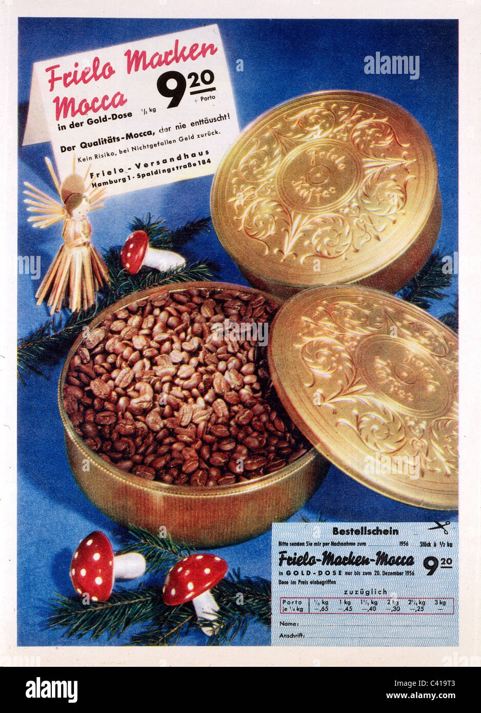 advertising, beverages, coffee, 'Frielo' branded mocha coffee, advert, 1957, Additional-Rights-Clearences - Stock Image