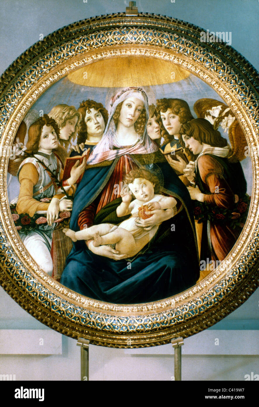fine arts, Botticelli, Sandro (1445 - 1510), painting, 'Madonna of the Pomegranate' (Madonna with Child - Stock Image