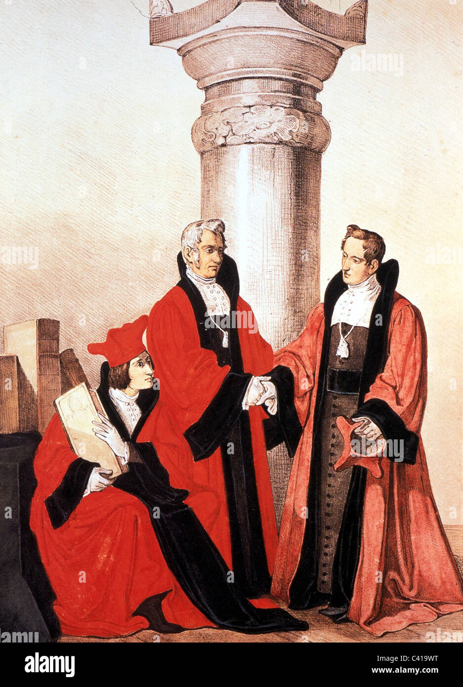 education, university, professors of the faculty of law, University of Munich, lithograph by Joseph Wagner, circa - Stock Image