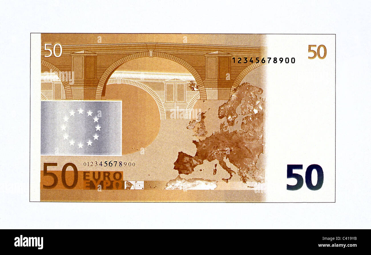 money, banknotes, euro, 50 euro bill, reverse, banknote, bank note, bill, bank notes, banknote, bank note, bill, - Stock Image