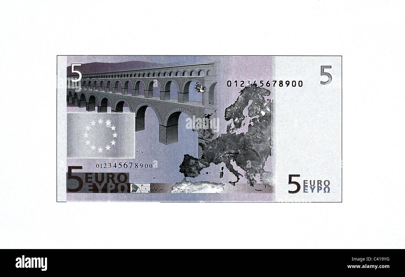 money, banknotes, euro, 5 euro bill, reverse, banknote, bank note, bill, bank notes, banknote, bank note, bill, - Stock Image