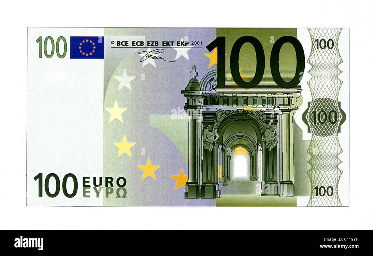 money, banknotes, euro, 100 euro bill, obverse, banknote, bank note, bill, bank notes, banknote, bank note, bill, - Stock Image