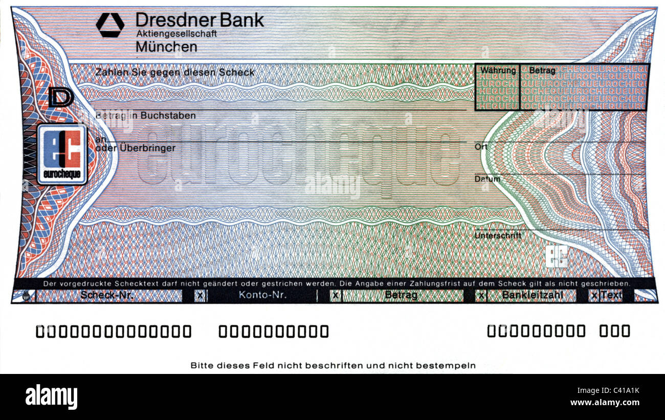 money, Eurocheque, printed form, cheque, check, cheques, checks, Eurocheque, clipping, cut out, cut-out, cut-outs, - Stock Image