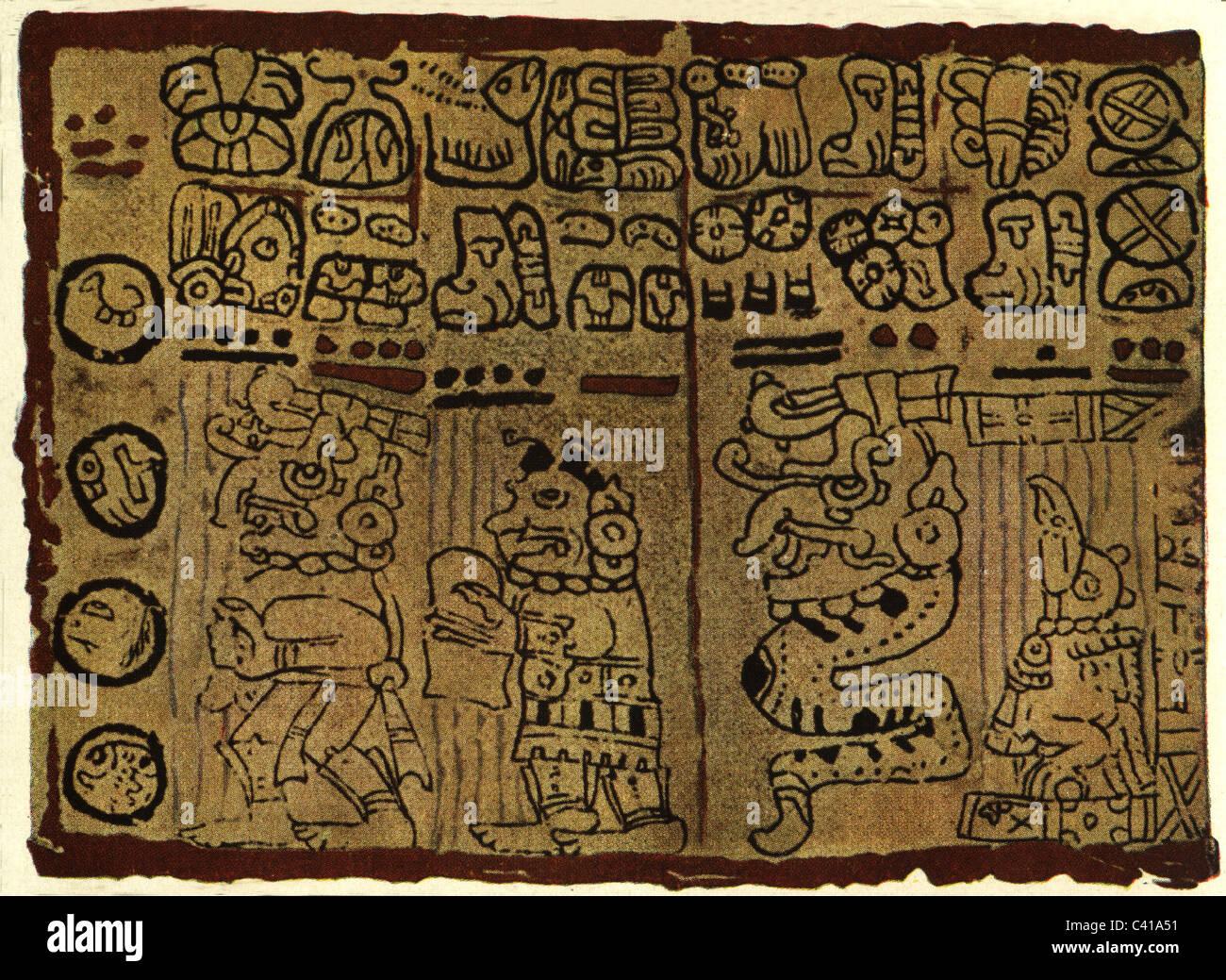writing, script, South America, Maya, fragment of a Mayan tonalamatl, Tonalamatl, Alamatl, clay, colour printing, - Stock Image