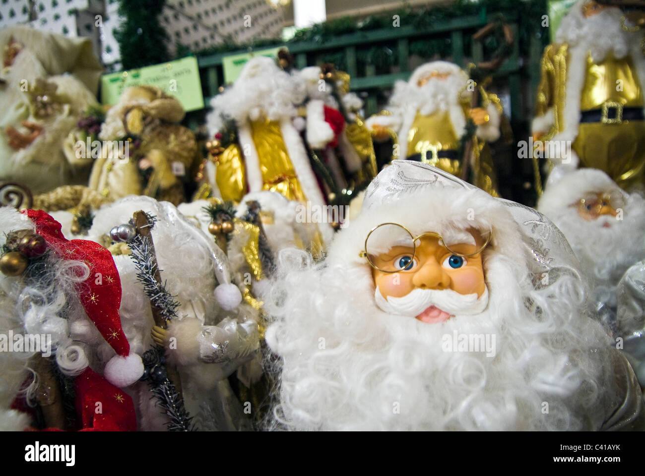 tacky christmas decorations for sale in a gardening centre stock image