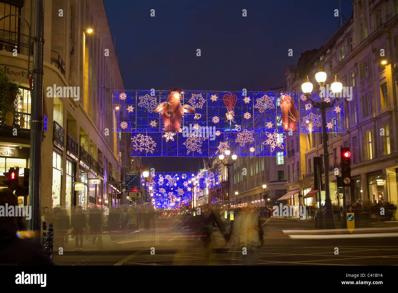 christmas decorations on regent street london uk stock image