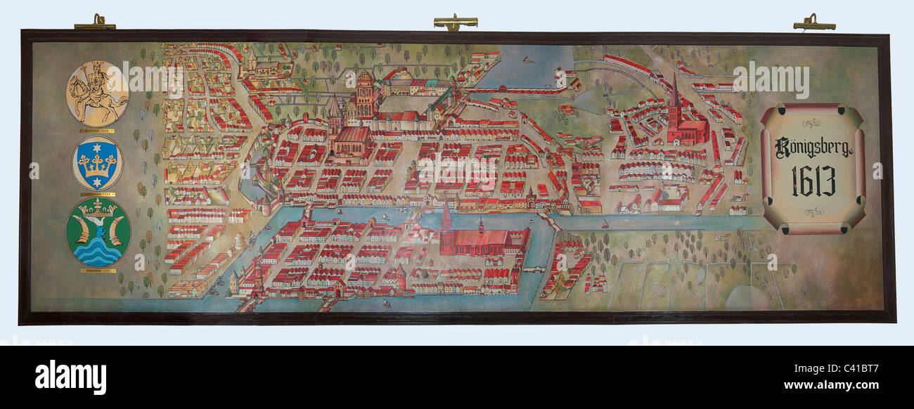 Map of Kenigsberg in 1613 year. Kaliningrad. Exhibition of Kant's Cathedral Stock Photo