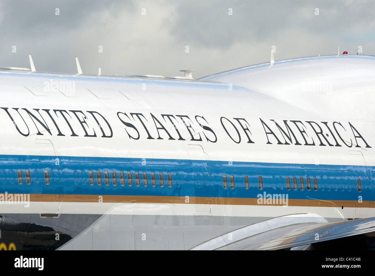 Detail on US President Obama's official Boeing 747 Jumbo Jet with words United States of America - Stock Image