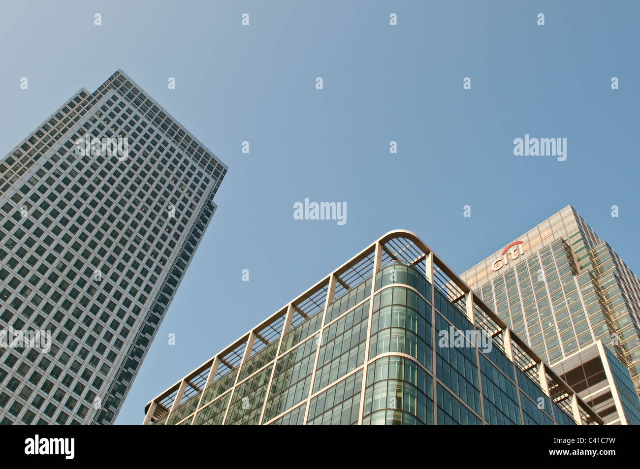 One Canada Square and City bank skyscrapers, Canary Wharf, London, UK - Stock Image