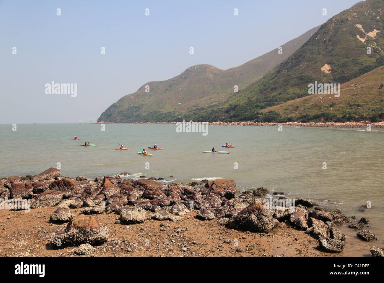 Kayakers, South China Sea, Lantau Island, Hong Kong, China, Asia - Stock Image