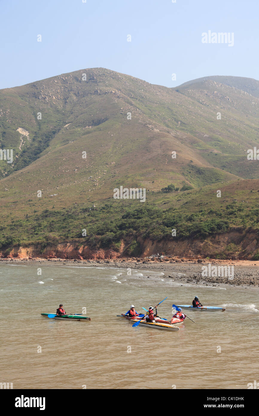 Kayakers, South China Sea, Lantau Island, Hong Kong, China, Asia - Stock Image