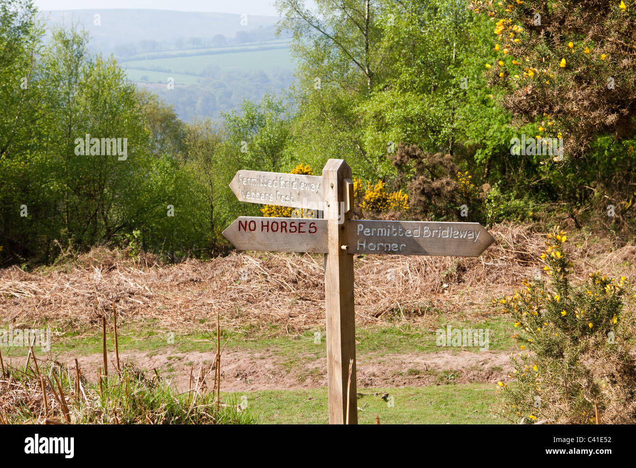 Permitted bridleway sign on the Webbers Post Easy Access Trail on Exmoor, Somerset, England UK - Stock Image