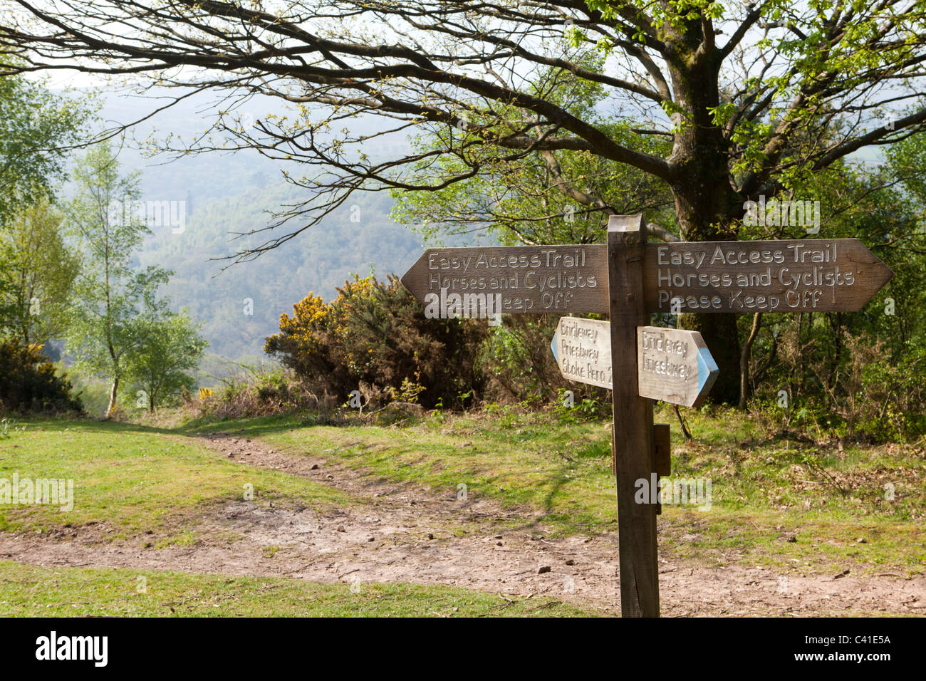 Sign on the Webbers Post Easy Access Trail on Exmoor, Somerset, England UK - Stock Image