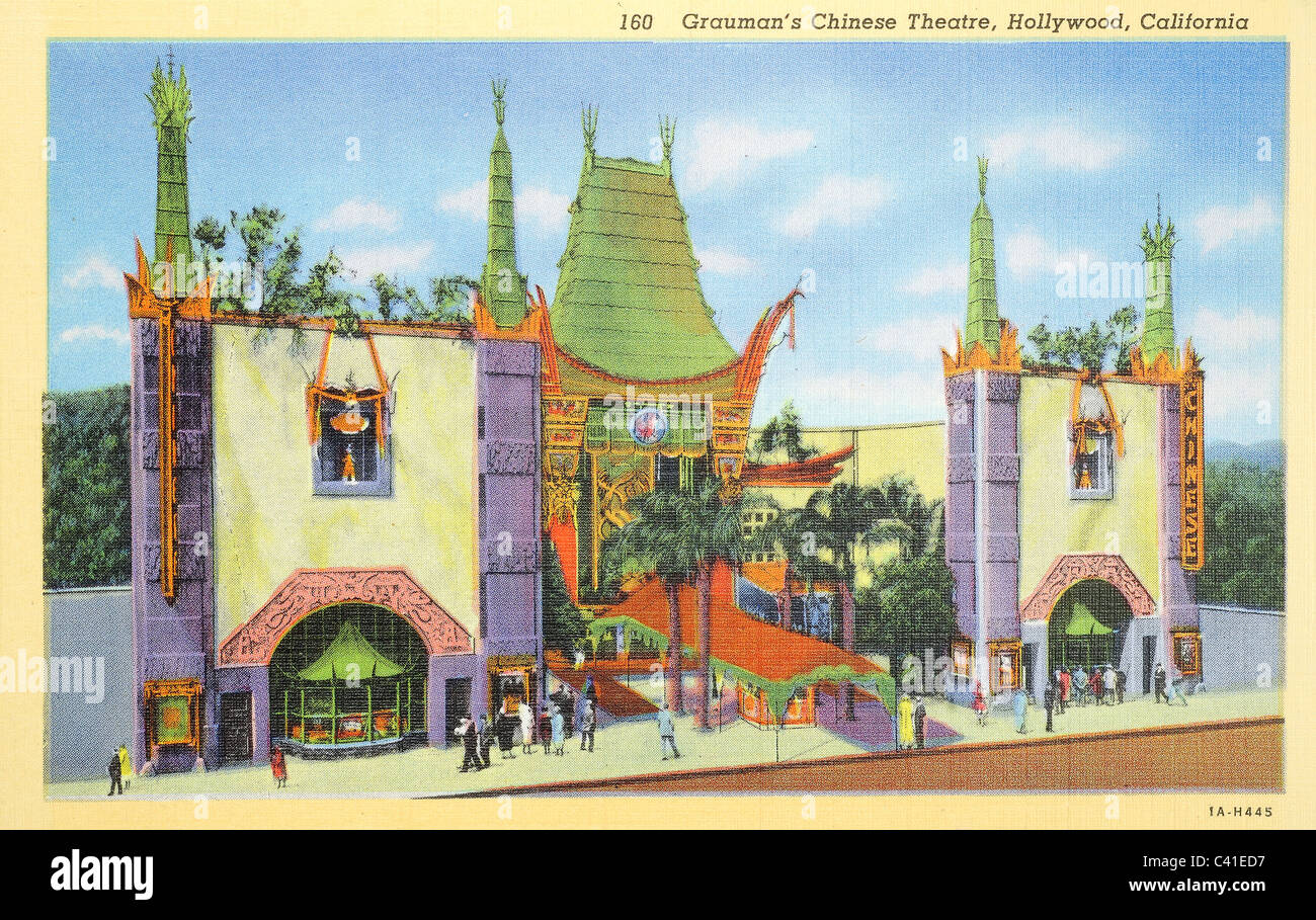 Grauman's Chinese Theater in Hollywood, California, from a vintage 1931 post card - Stock Image