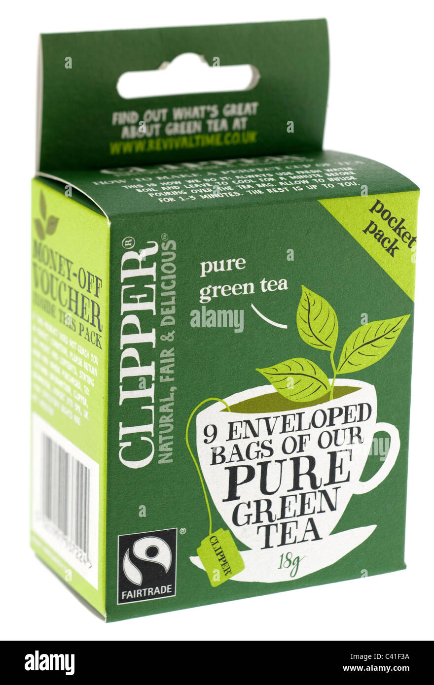 Box of Clipper fairtrade pocket size pack of 9 enveloped bags of pure green tea - Stock Image