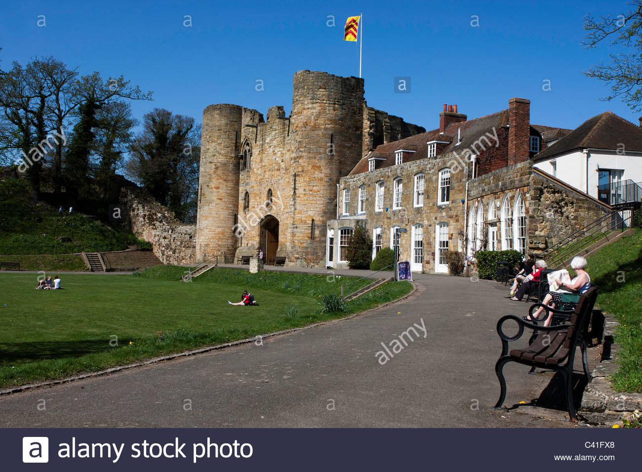 Tonbridge Castle. There has been a fortress on the site since the Norman invasion with the gatehouse dating back - Stock Image