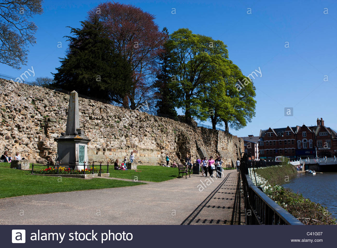 The Curtain Wall, Tonbridge Castle, Kent - Stock Image