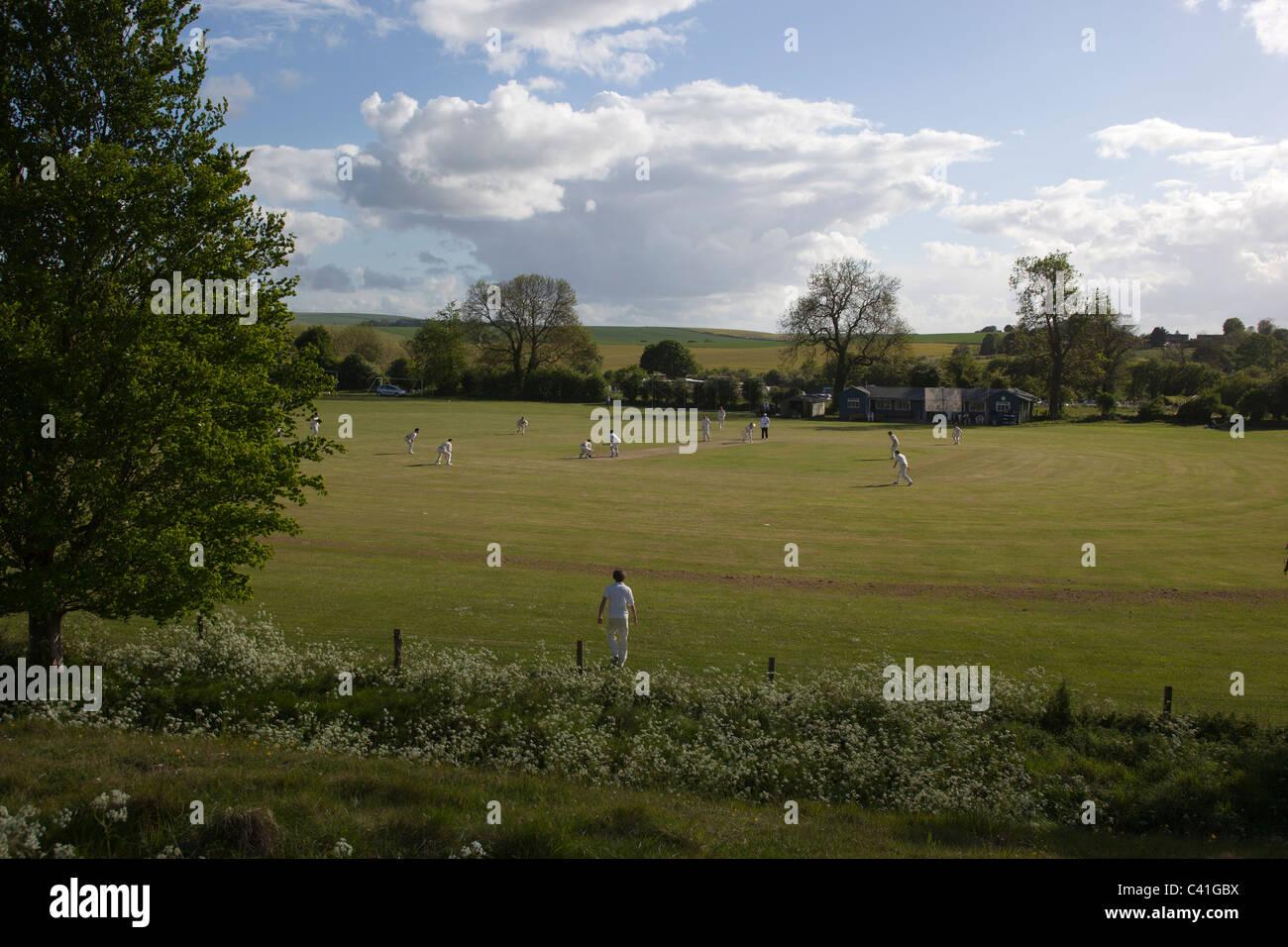 Cricket Game at Avebury Wiltshire UK - Stock Image