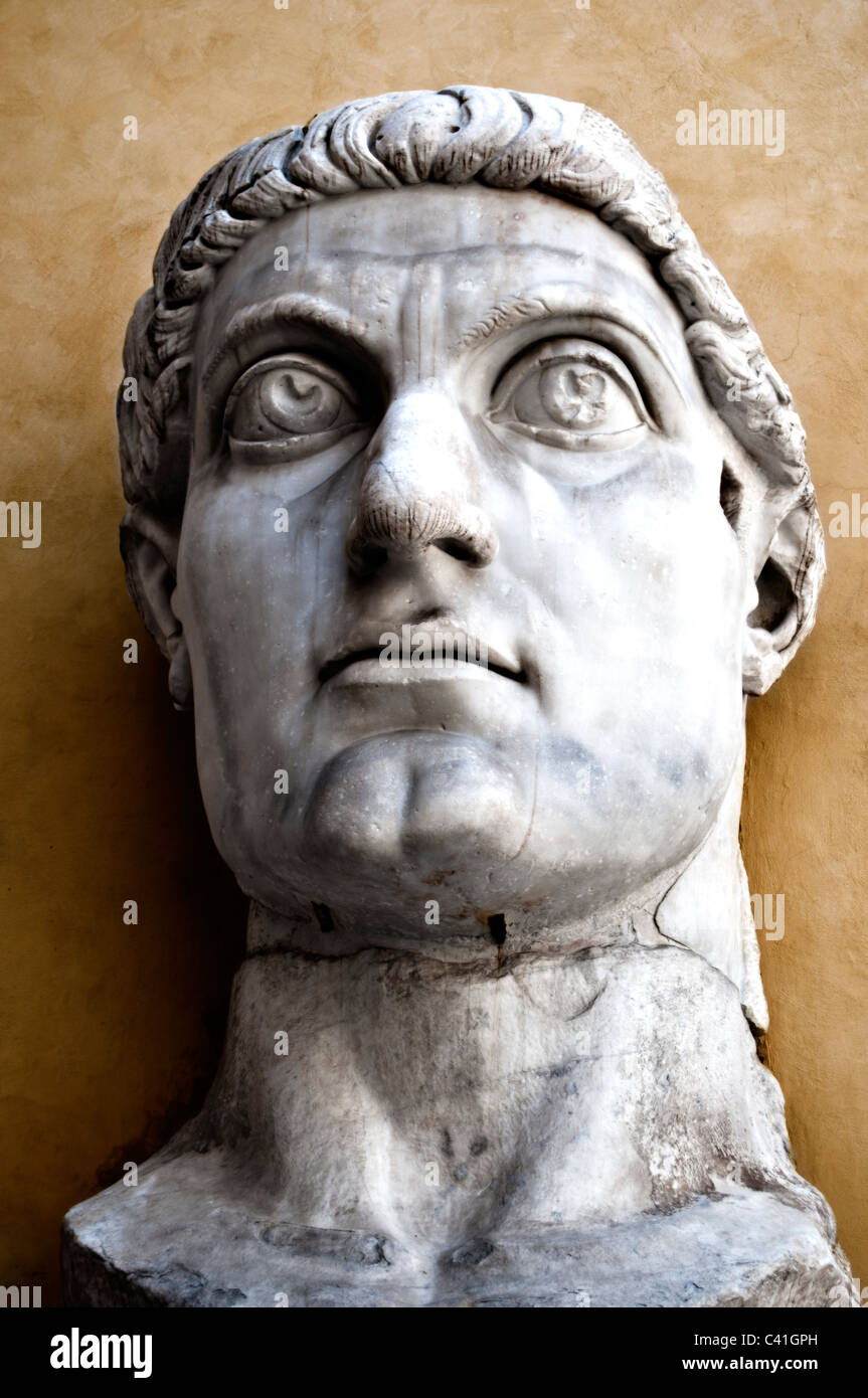 Capitoline Museums Palazzo dei Conservatori- head of Emperor Constantine- part of colossal stone statue- Rome Italy - Stock Image