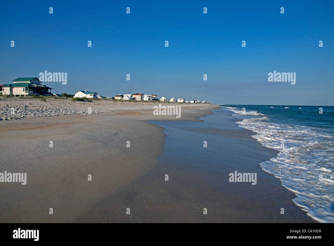 Housing development along Gulf of Mexico St George Island Florida USA - Stock Image