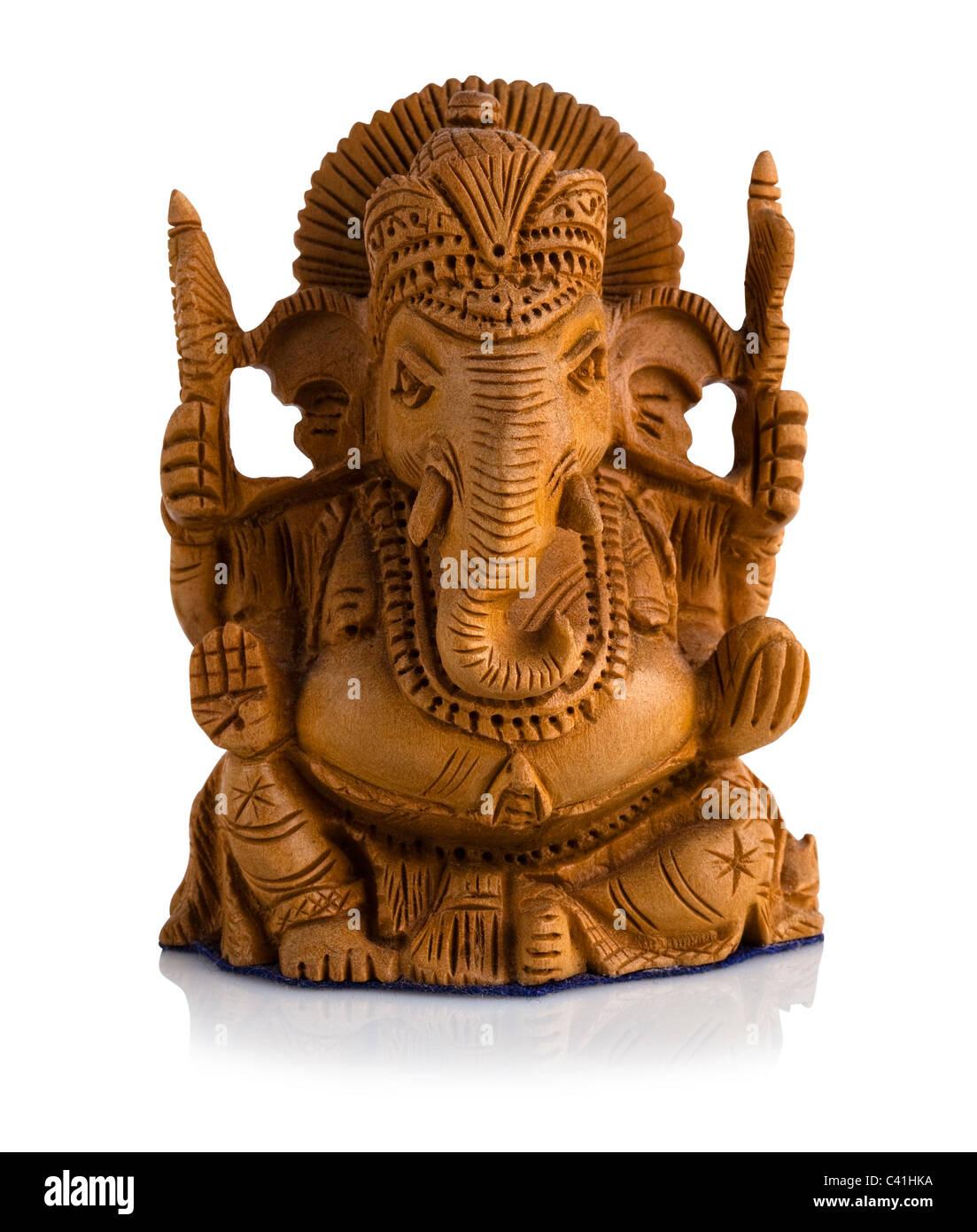 Sandalwood statue of Ganesha - Stock Image