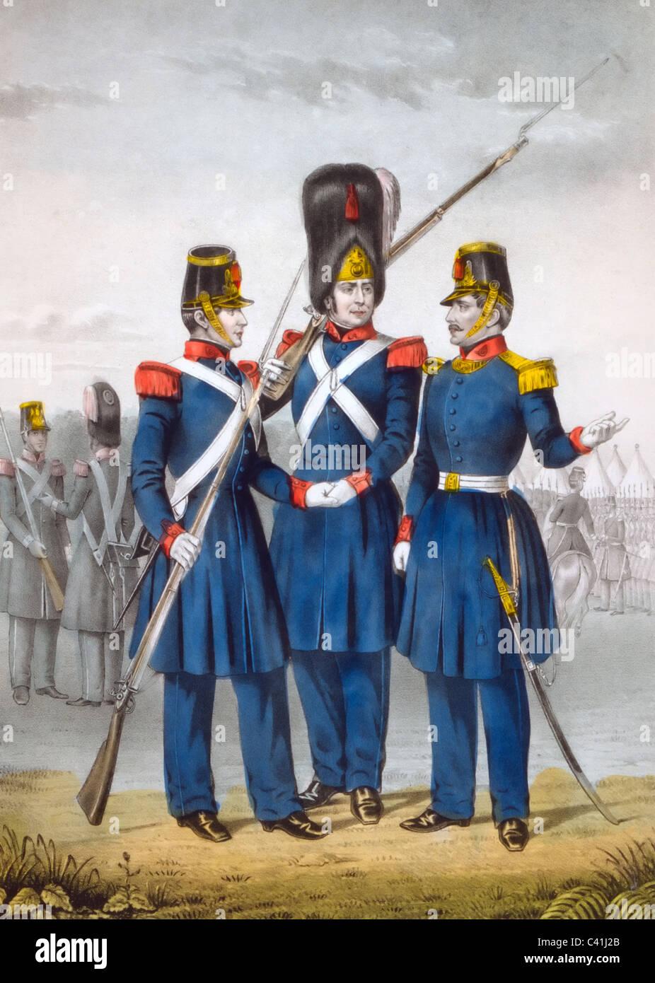 California guard - Print showing men in dress uniform, circa 1846 - Stock Image