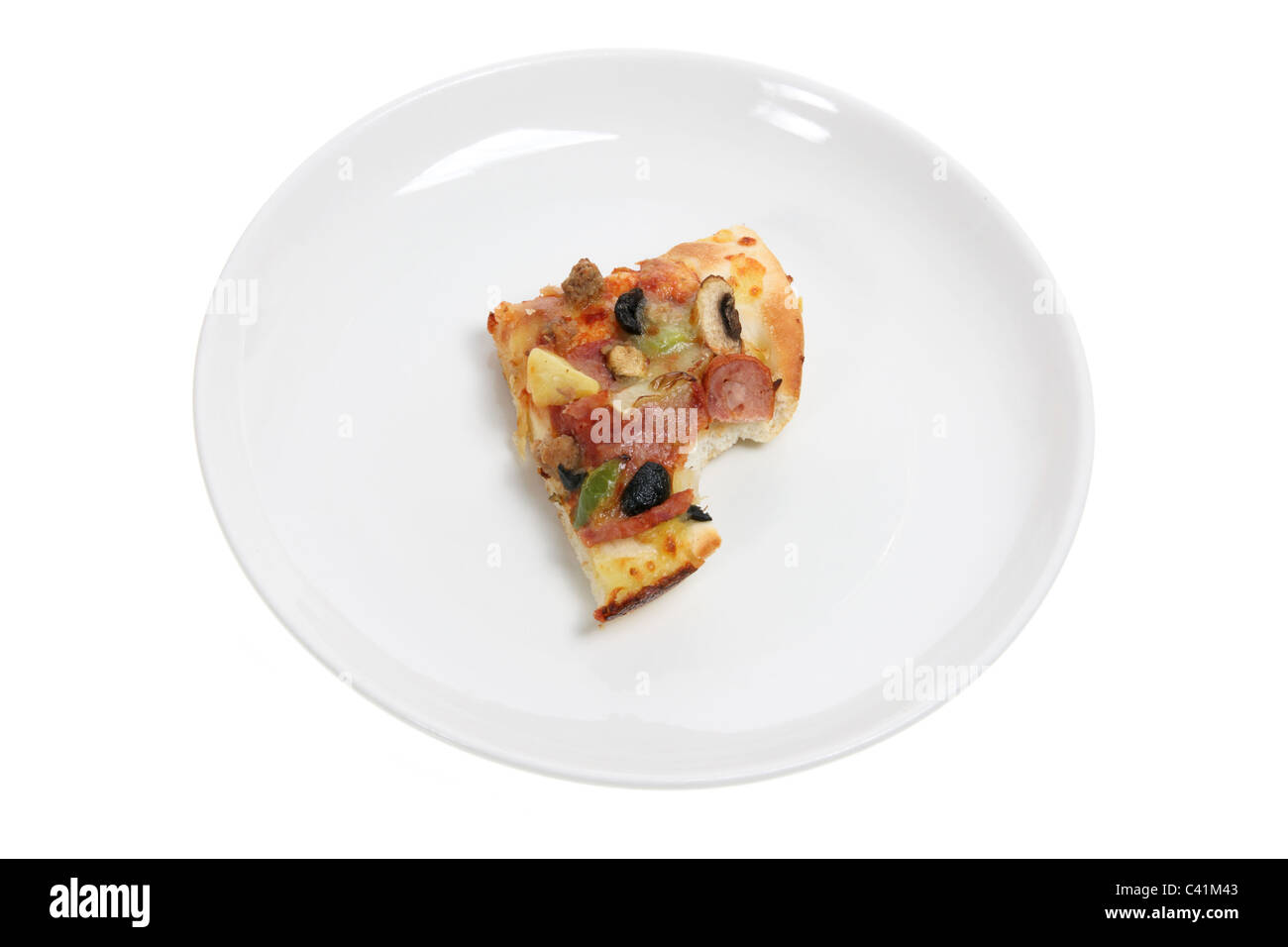 Slice of Pizza on Plate - Stock Image