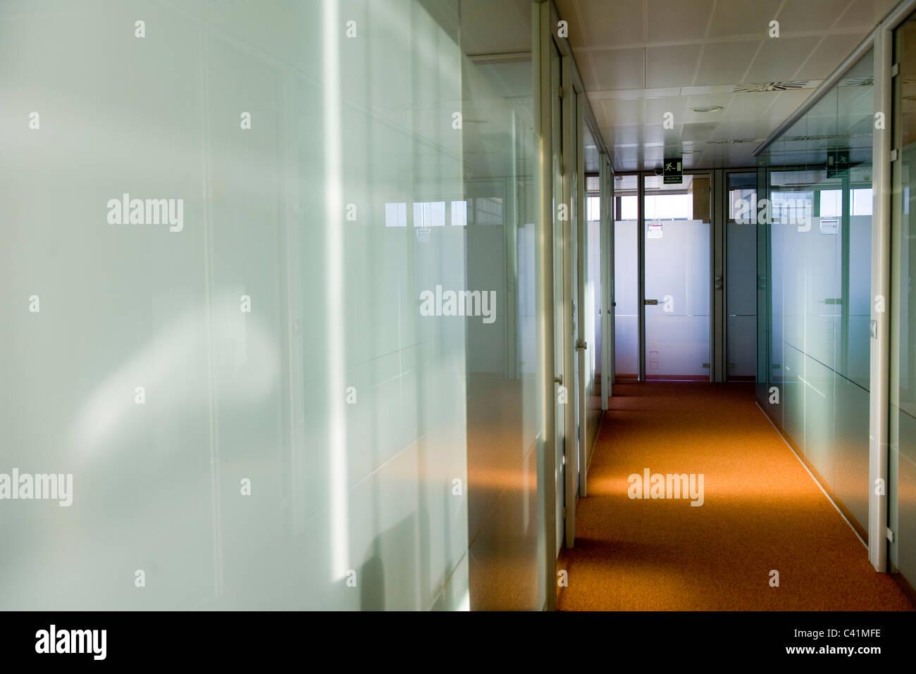 Empty office corridor - Stock Image