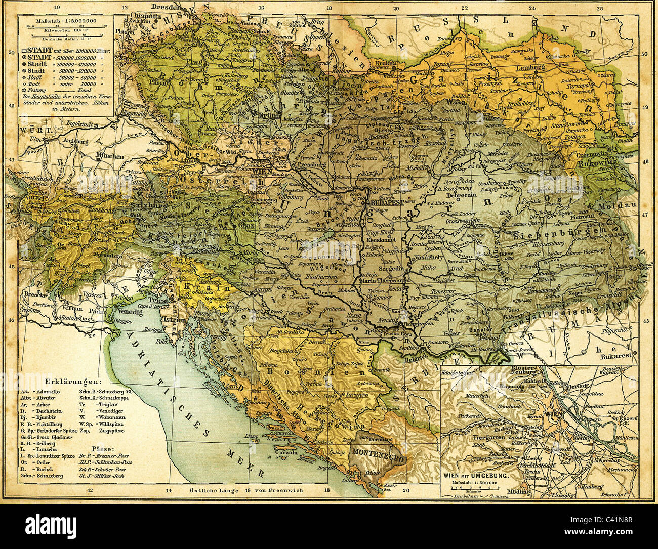 cartography, map, Austria-Hungary, circa 1910, as well as the Vienna and its surrounding area, from Kuerschners - Stock Image