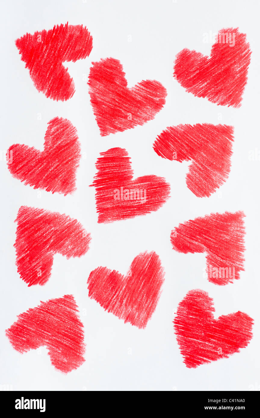 Red coloured love hearts. Coloured pencil drawing - Stock Image