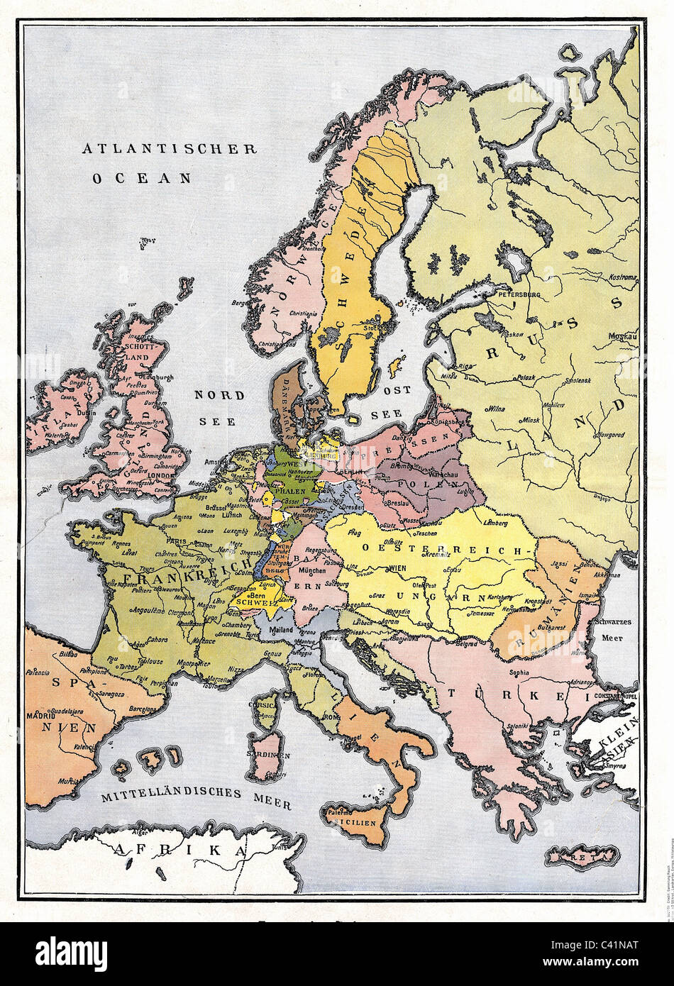 map, Europe, Central Europe 1809, Additional-Rights-Clearences-NA - Stock Image