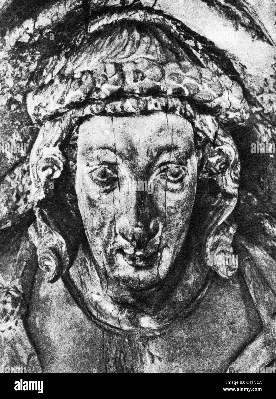 Sayn, Heinrich III 'the Great', Count of, circa 1193 - 1.1.1247, portrait, wood carving at his grave, Premonstratensian - Stock Image