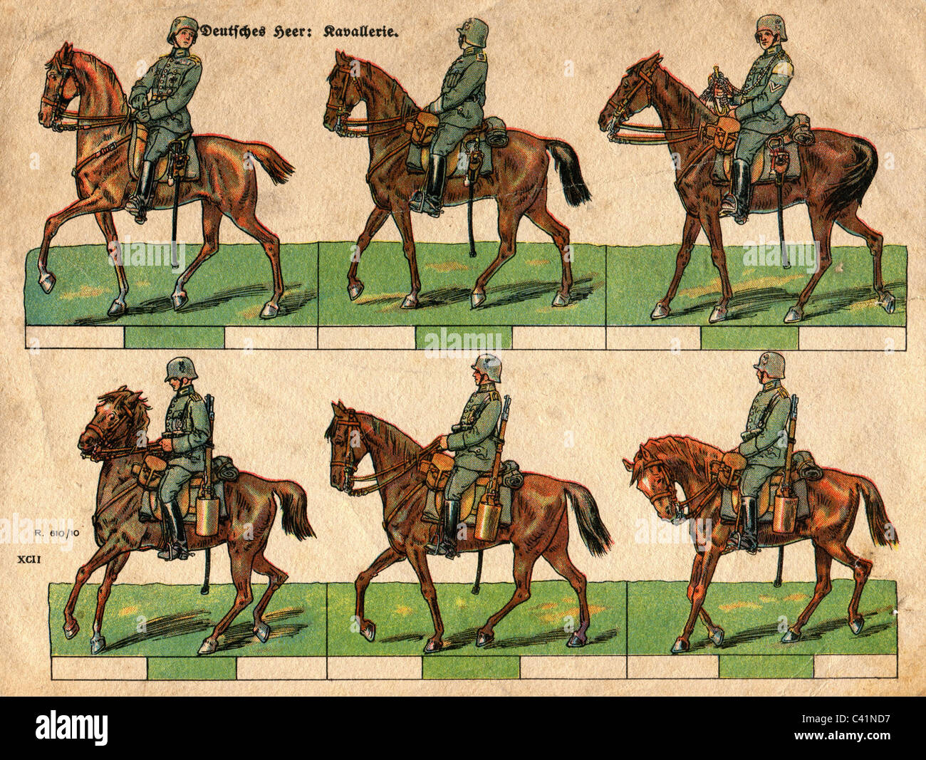 military, Germany, Reichswehr, cavalry uniforms, illustration, colour print, circa 1930, Additional-Rights-Clearences - Stock Image