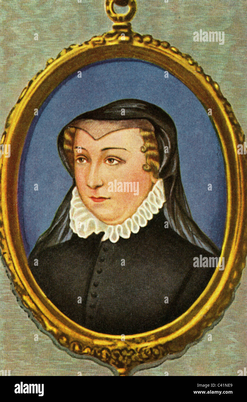 Catherine di Medici, 13.4.1519 - 5.1.1589, Queen Consort of France 31.3.1547 - 10.7.1559, portrait, colour print - Stock Image