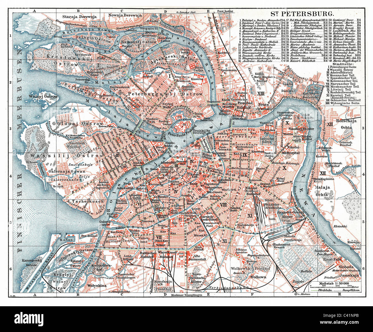 cartography, city map, Russia, Saint Petersburg, Meyers Konversationslexikon (Meyer's Encyclopaedia), 5th edition, - Stock Image