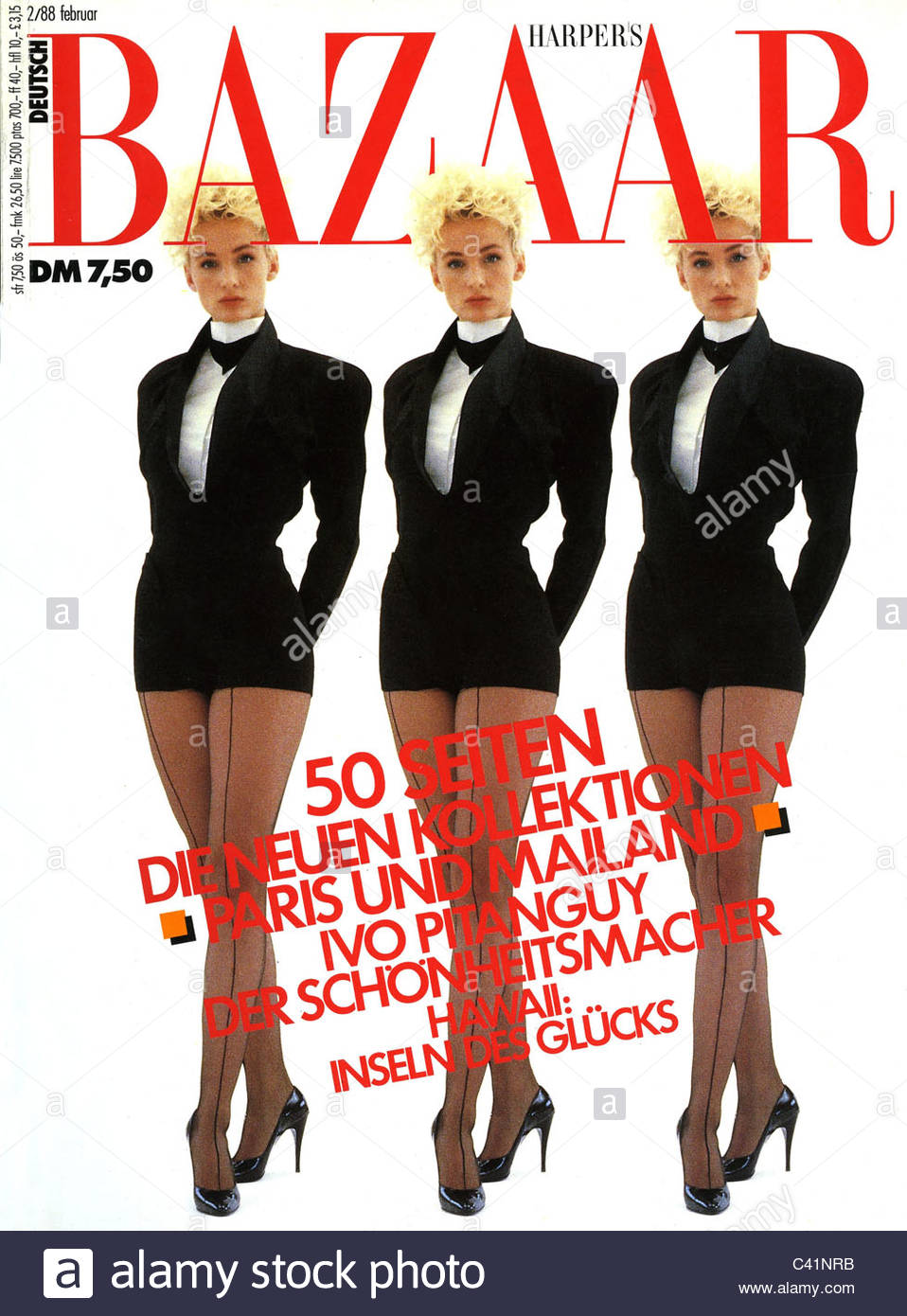 magazine, newspaper, 'Harper's Bazaar', title: 3 Models, edition, February, Munich, 1988, glossy, mag, - Stock Image