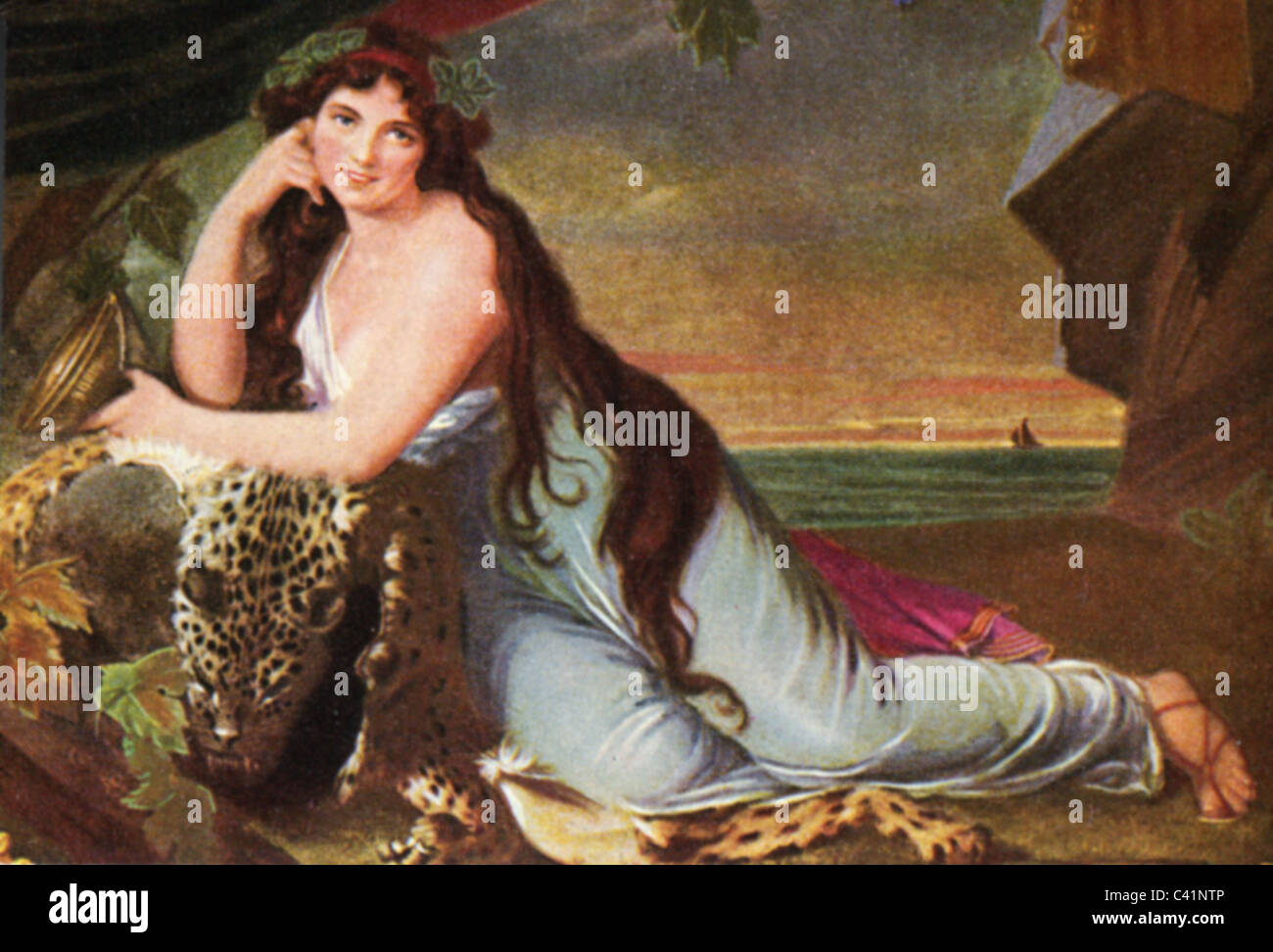 Hamilton, Lady Emma, 1761 - 15.1.1815, as Ariadne, colour print after ministure by Henry Bone, 1803, cigarette card, Stock Photo
