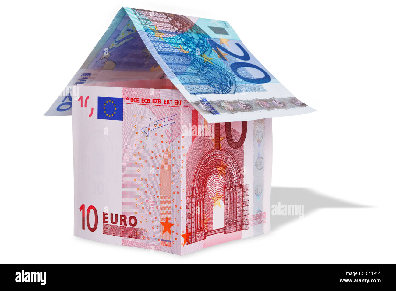 Photo of a model house made from Euro banknotes - Stock Image