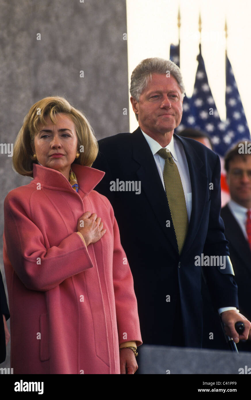President Bill Clinton and First Lady Hillary at the inauguration of ...