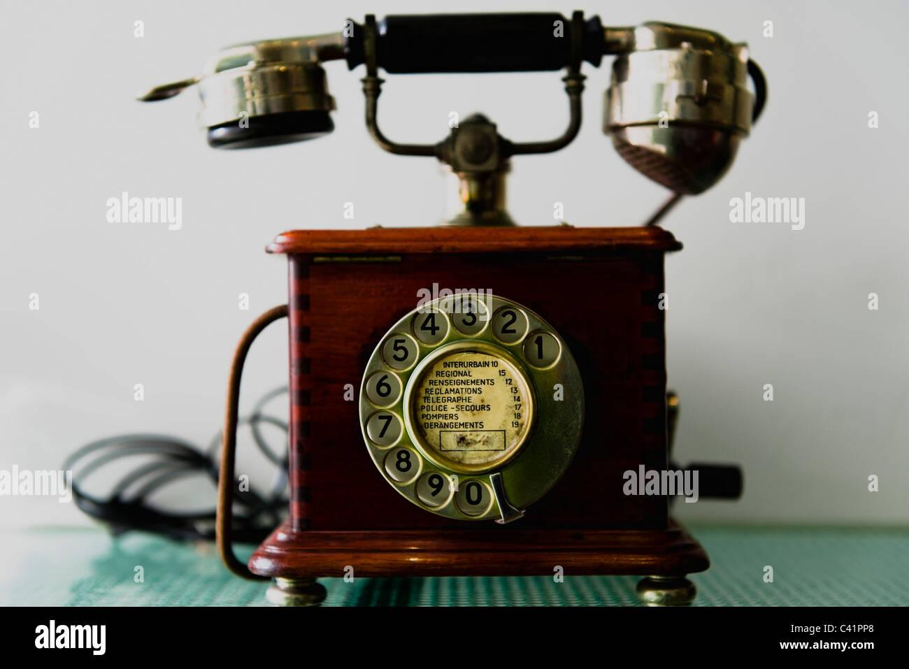 Antique rotary telephone - Stock Image