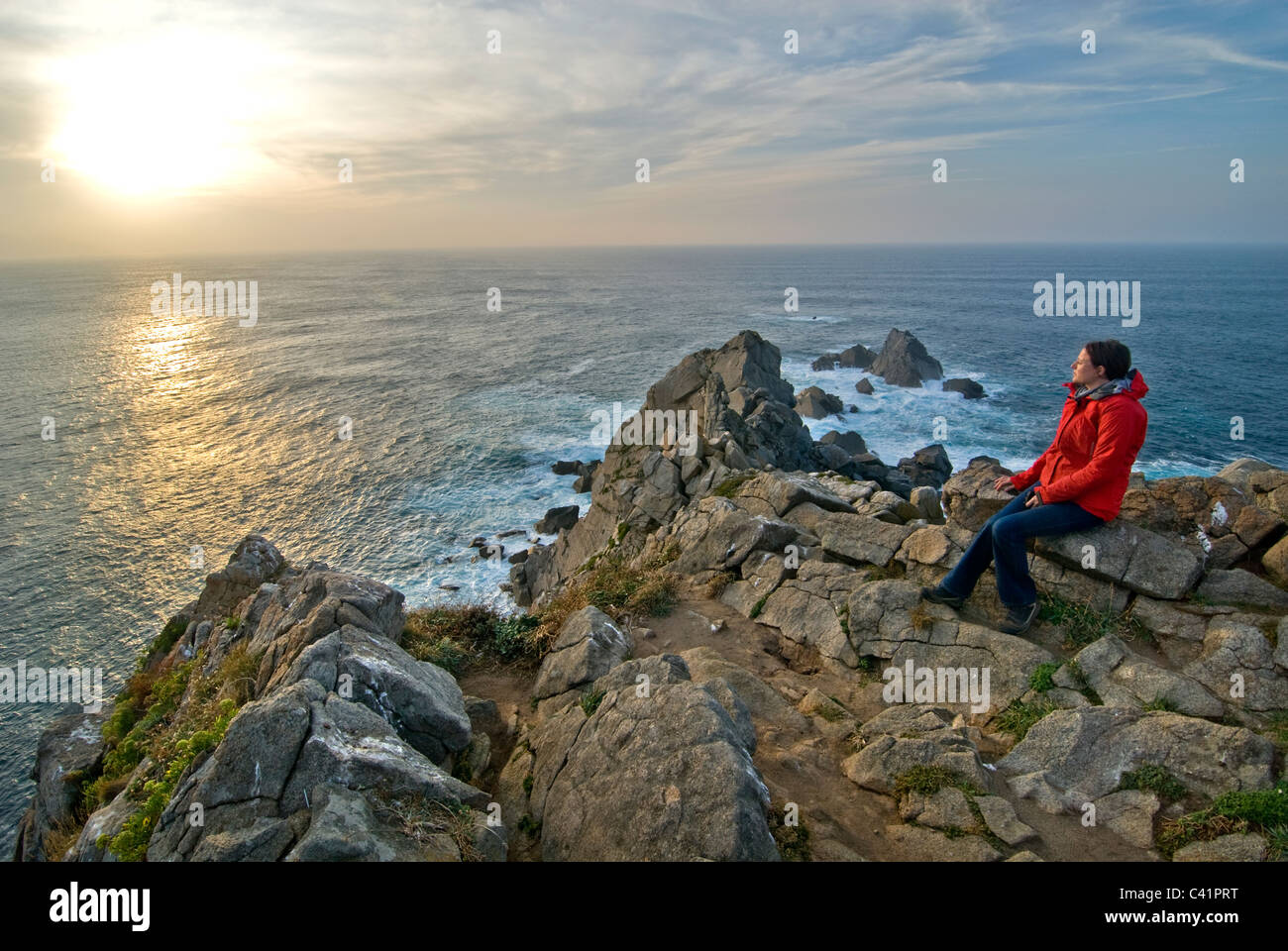 Punta de la Estaca de Bares headland, near Porto Bares, Galicia, Spain - Stock Image