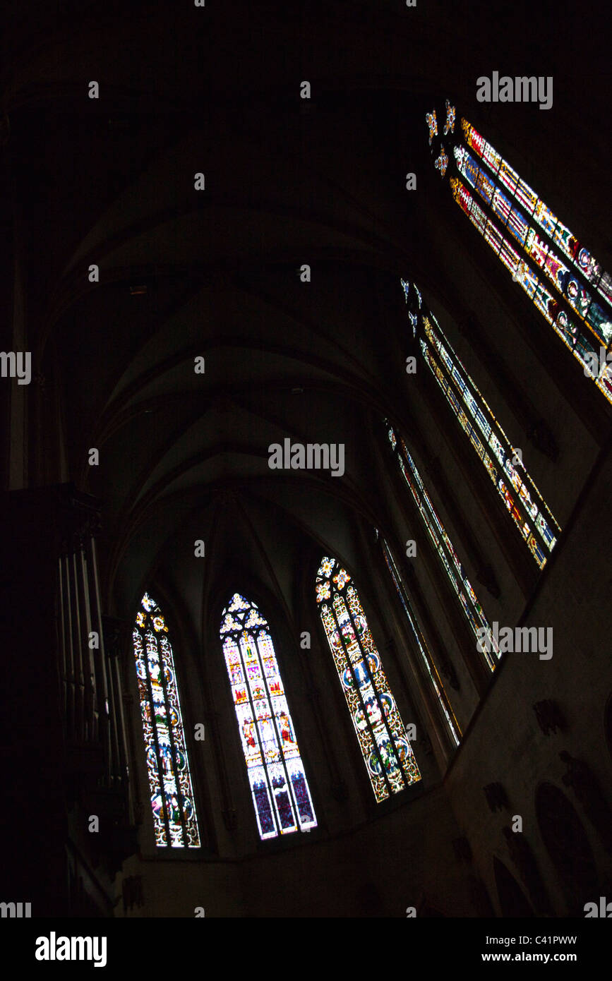 Stained glass windows inside of Saint Martin church, Colmar, France - Stock Image